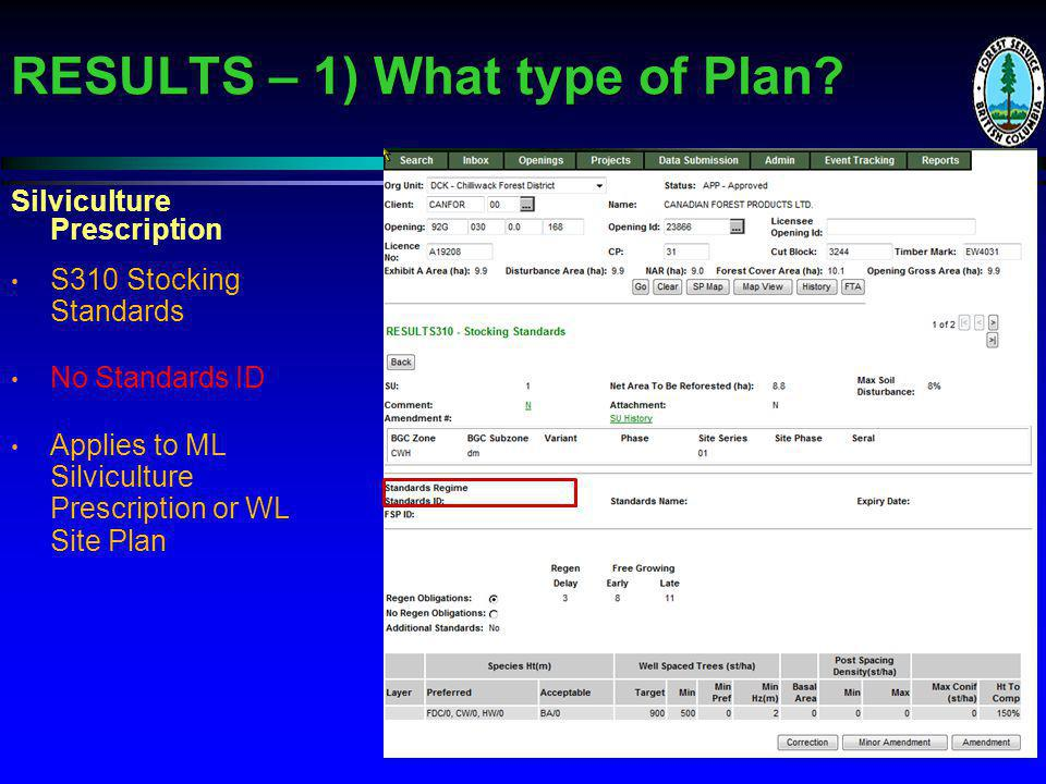 RESULTS – 1) What type of Plan.
