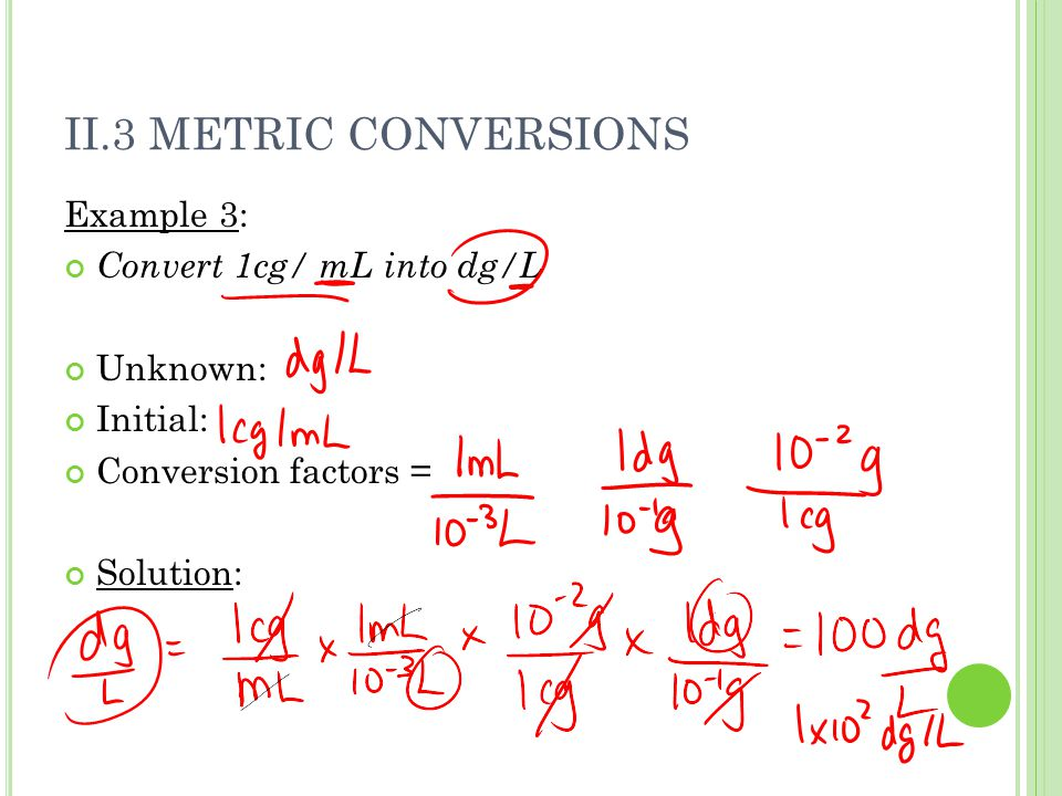 II.3 METRIC CONVERSIONS Example 3: Convert 1cg/ mL into dg/L Unknown: Initial: Conversion factors = Solution: