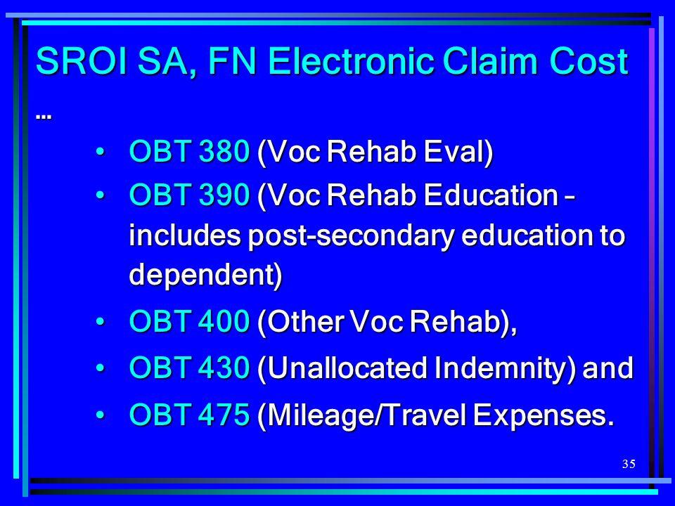 35 SROI SA, FN Electronic Claim Cost … OBT 380 (Voc Rehab Eval)OBT 380 (Voc Rehab Eval) OBT 390 (Voc Rehab Education – includes post-secondary educati