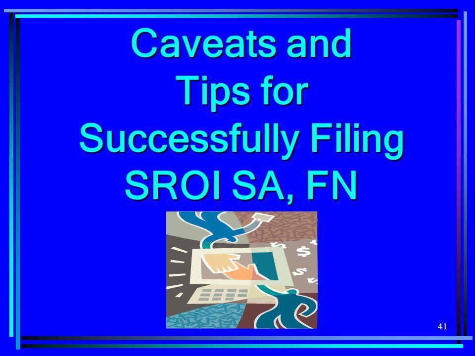 41 Caveats and Tips for Successfully Filing SROI SA, FN
