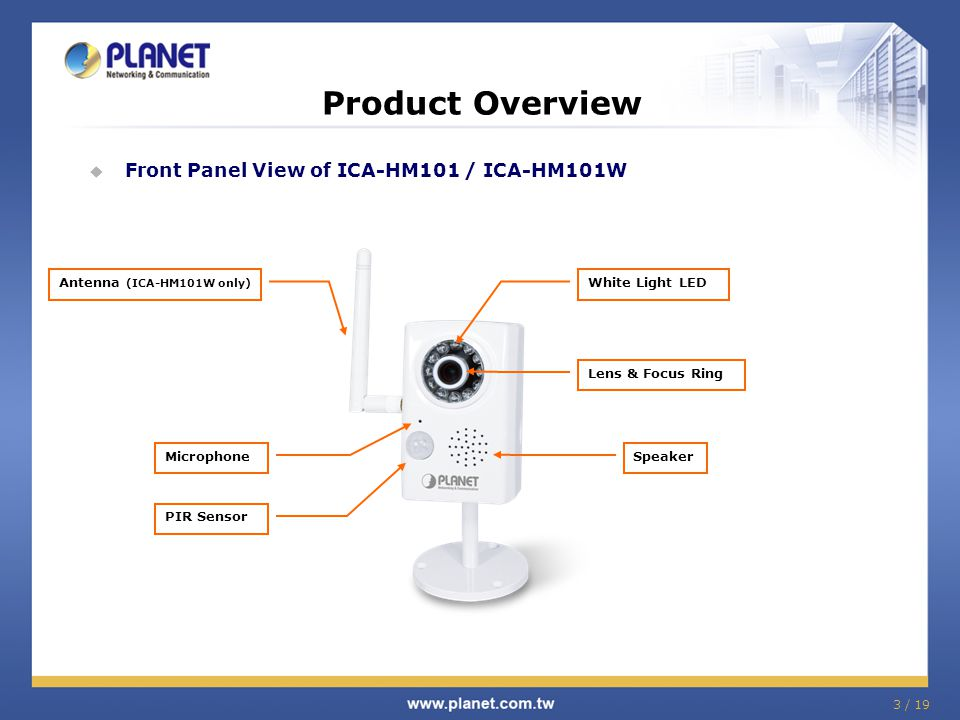 3 / 19 Product Overview  Front Panel View of ICA-HM101 / ICA-HM101W White Light LED Lens & Focus Ring Speaker Antenna (ICA-HM101W only) Microphone PI
