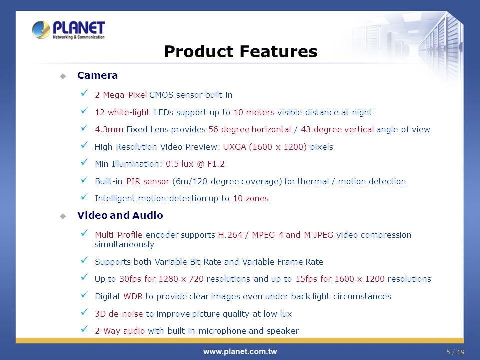 16 / 19 Product Comparison Model Features PLANET ICA-HM101 / HM101W Axis M1054 Vivotek IP8133 / IP8133W Sensor 1/3 Progressive CMOS1/4 CMOS Sensor size in megapixel 2.0 Mega-Pixel1.0 Mega-Pixel Lens 4.3 mm4.4mm3.29mm Sensibility (Lux) 0.5 Lux1.03.0 PoE V (ICA-HM101)VV (IP8133) Wireless 802.11b/g/n (ICA-HM101W)-802.11b/g/n (IP8133W) Image Compression H.264 / MPEG-4 / M-JPEG Max resolution @ FPS 1600 x 1200 @ 15 fps 1280 x 720 @ 30 fps 1280 x 800 @ 30 fps Save-to-NAS V-- 2-Way Audio VVV Built-in Speaker V-- White light LED V-- Storage Micro SD / SDHC-- PIR Sensor VVV IPv6 VVV ONVIF VVV