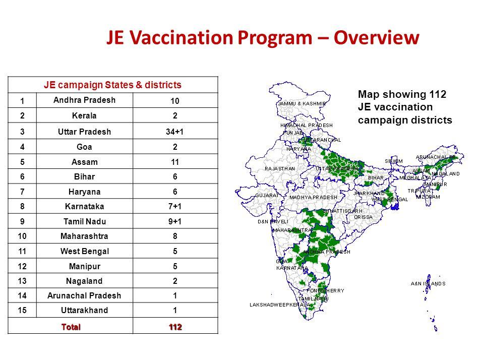 JE campaign States & districts 1 Andhra Pradesh 10 2Kerala2 3Uttar Pradesh34+1 4Goa2 5Assam11 6Bihar6 7Haryana6 8Karnataka7+1 9Tamil Nadu9+1 10Maharas