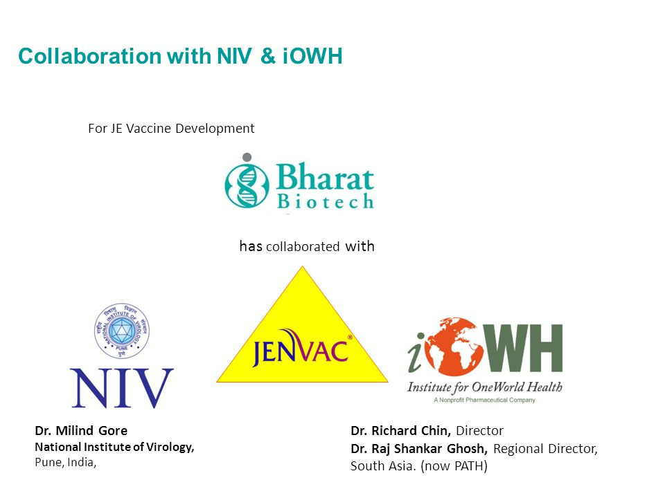 Collaboration with NIV & iOWH Dr. Milind Gore National Institute of Virology, Pune, India, Dr. Richard Chin, Director Dr. Raj Shankar Ghosh, Regional