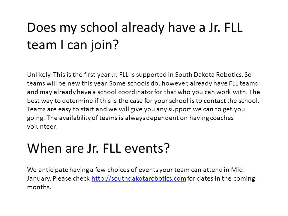 Does my school already have a Jr. FLL team I can join.