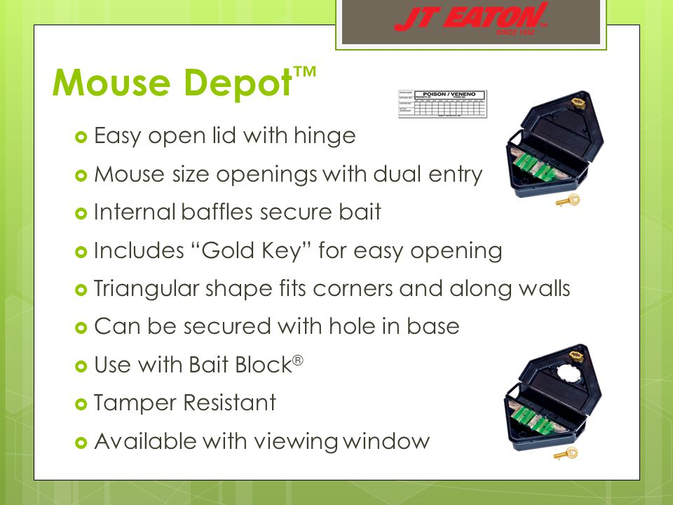 Mouse Depot ™  Easy open lid with hinge  Mouse size openings with dual entry  Internal baffles secure bait  Includes Gold Key for easy opening  Triangular shape fits corners and along walls  Can be secured with hole in base  Use with Bait Block ®  Tamper Resistant  Available with viewing window