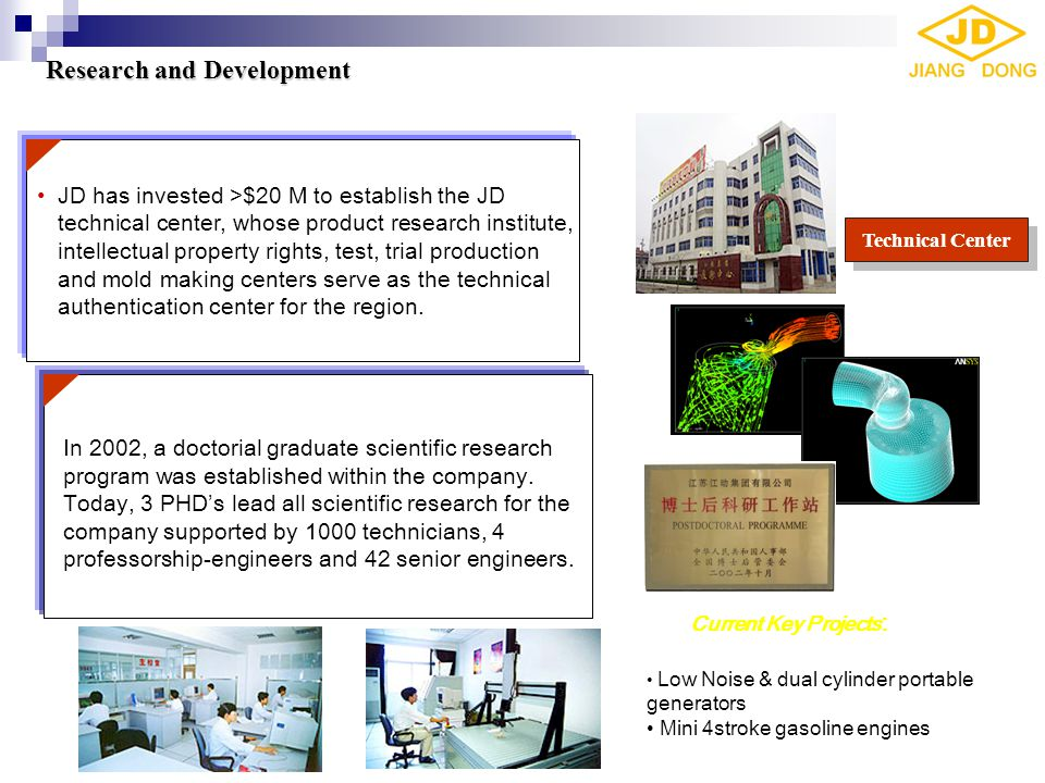 JD has invested >$20 M to establish the JD technical center, whose product research institute, intellectual property rights, test, trial production an