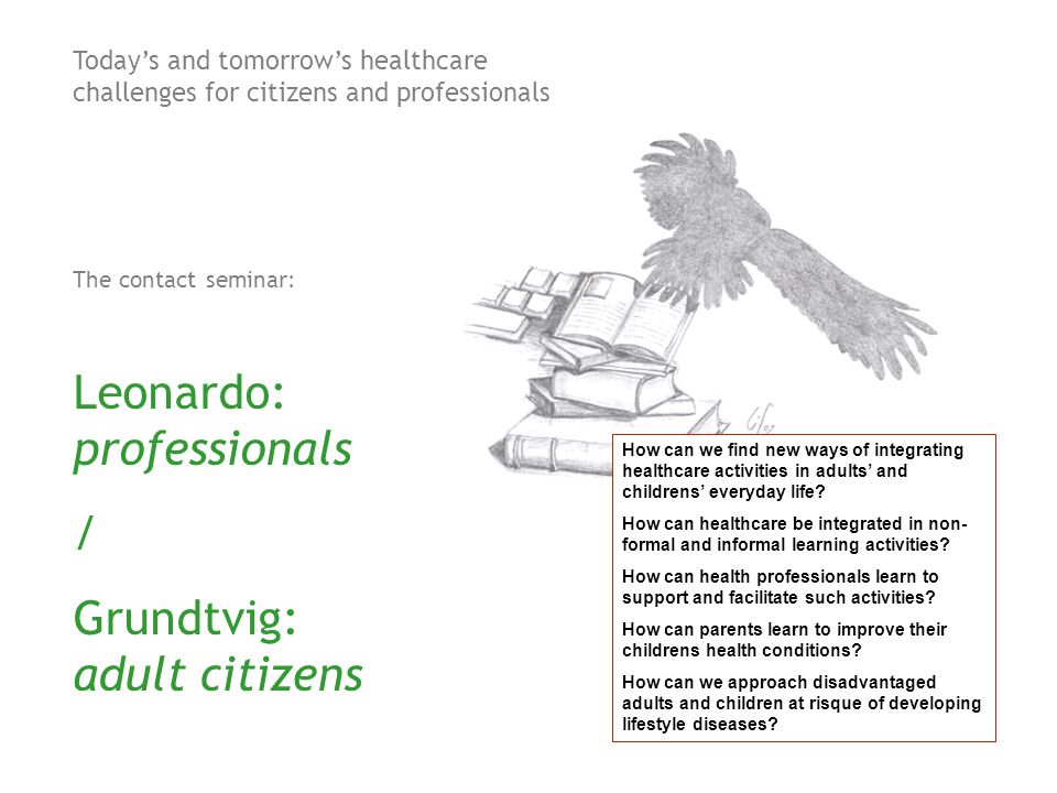 Today's and tomorrow's healthcare challenges for citizens and professionals The contact seminar: Leonardo: professionals / Grundtvig: adult citizens How can we find new ways of integrating healthcare activities in adults' and childrens' everyday life.
