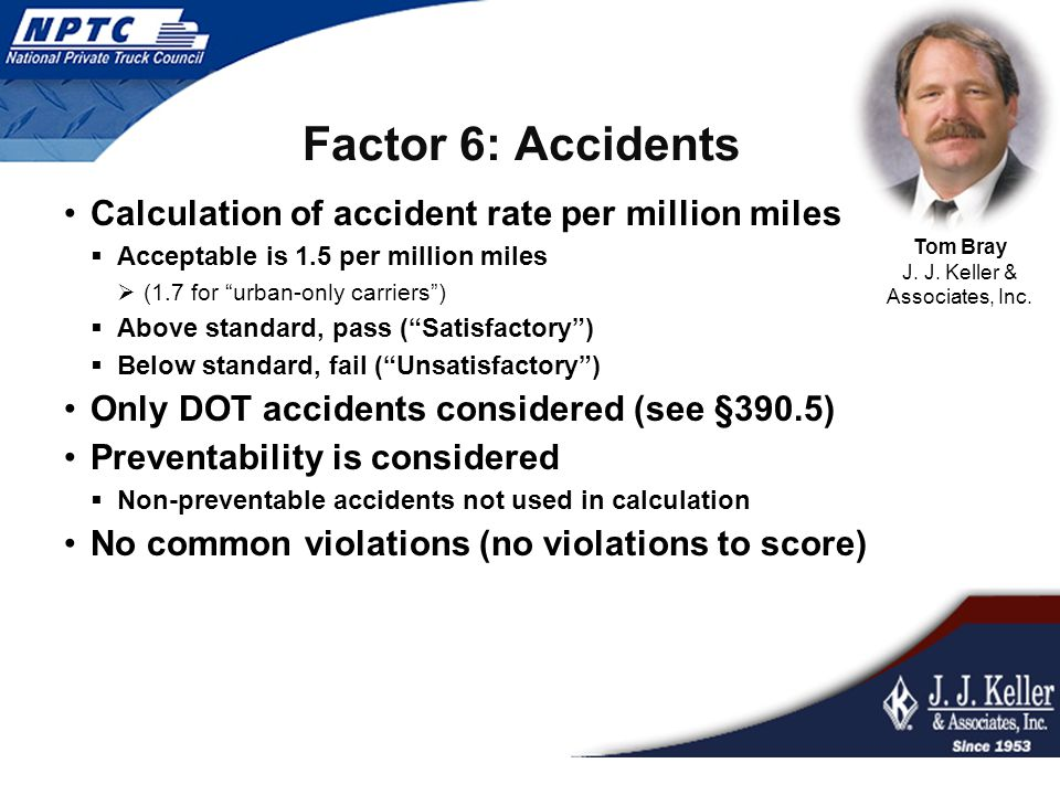 Factor 6: Accidents Calculation of accident rate per million miles  Acceptable is 1.5 per million miles  (1.7 for urban-only carriers )  Above standard, pass ( Satisfactory )  Below standard, fail ( Unsatisfactory ) Only DOT accidents considered (see §390.5) Preventability is considered  Non-preventable accidents not used in calculation No common violations (no violations to score) Tom Bray J.
