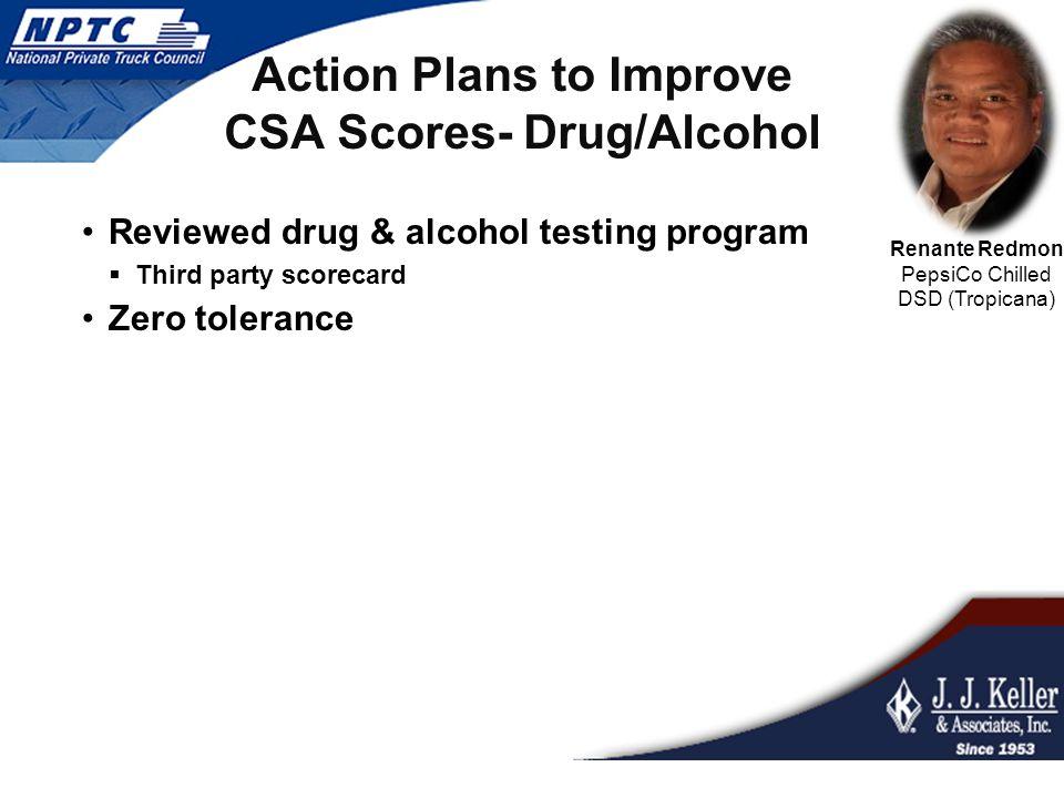 Action Plans to Improve CSA Scores- Drug/Alcohol Reviewed drug & alcohol testing program  Third party scorecard Zero tolerance Renante Redmon PepsiCo Chilled DSD (Tropicana)