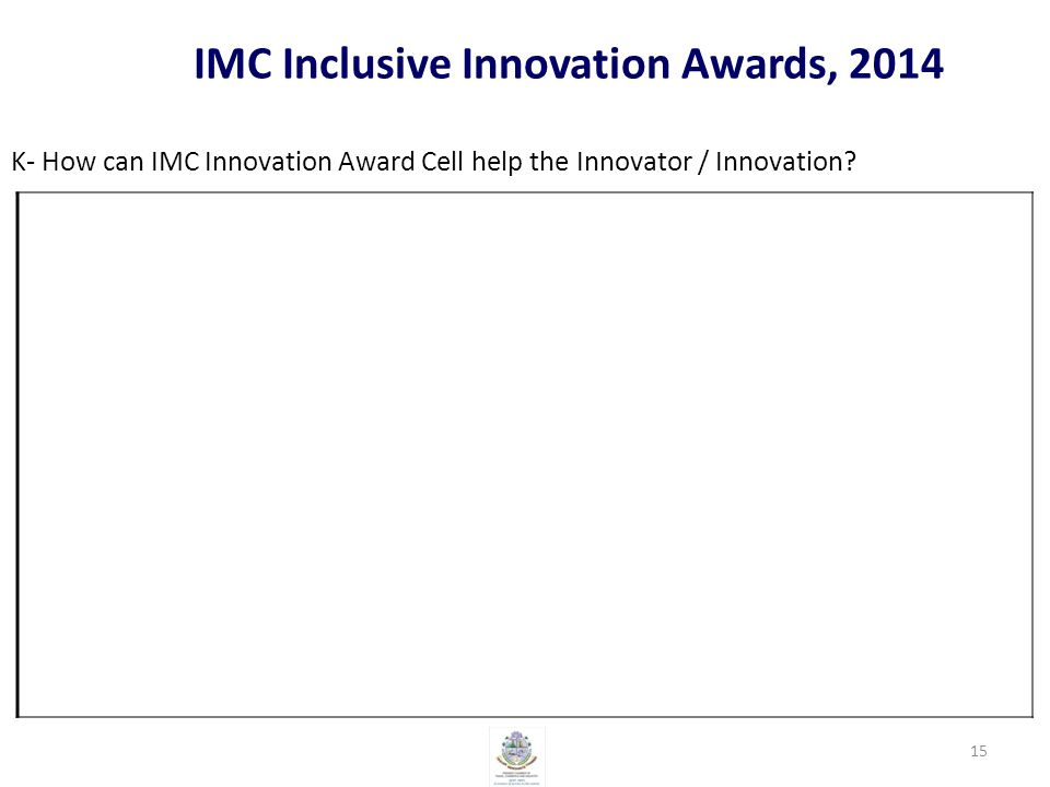 IMC Inclusive Innovation Awards, 2014 K- How can IMC Innovation Award Cell help the Innovator / Innovation.