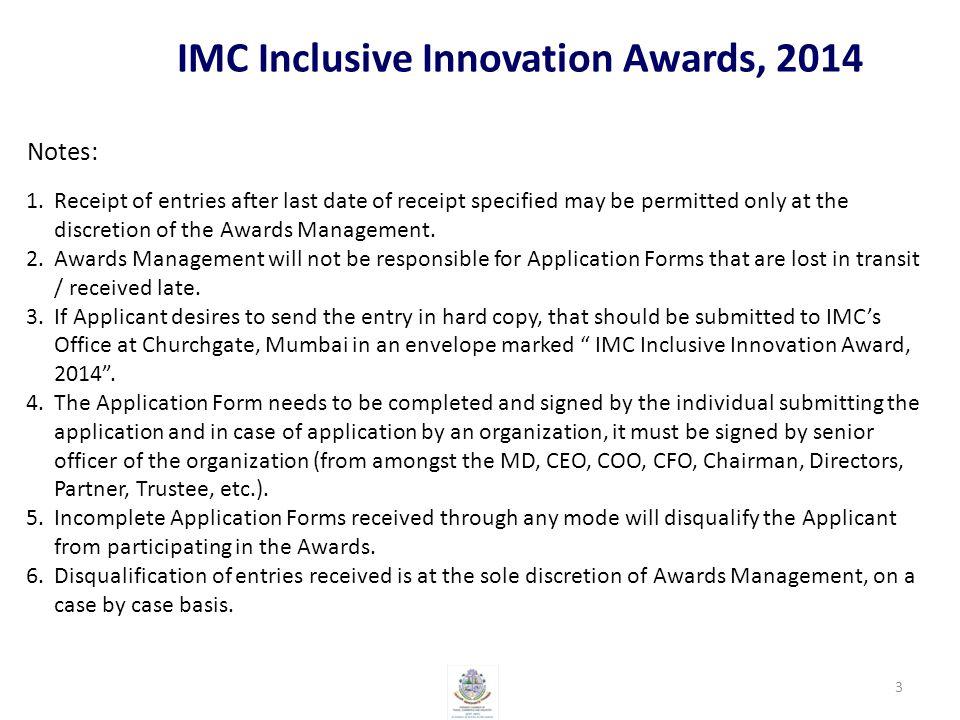 IMC Inclusive Innovation Awards, 2014 J- How the Award Money would help the Innovator / Innovation.