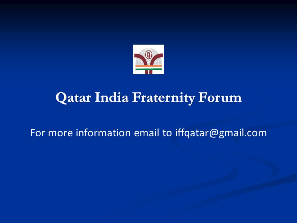 To Register, please contact : Jifas @ 3024 8820 | Shafeek @ 6651 5071 | iffqatar@gmail.com Sun 9 Jan at 8 pm Mugal Empire Hotel, Doha Jadeed