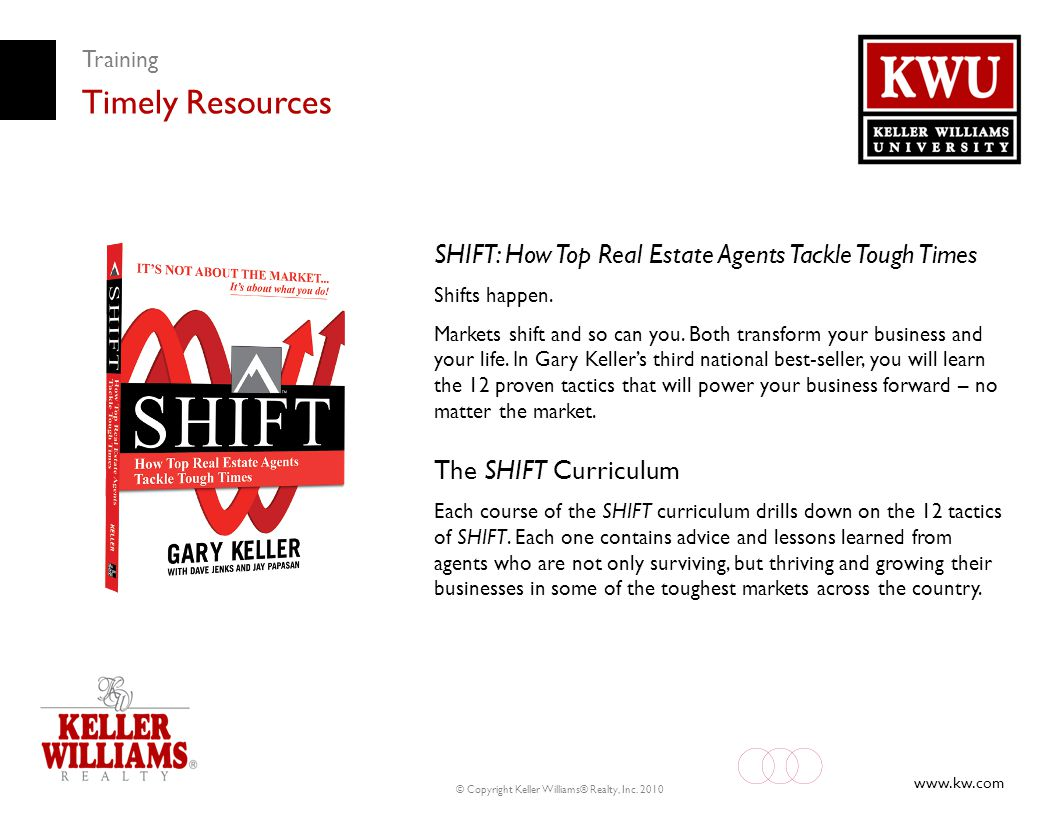 www.kw.com © Copyright Keller Williams® Realty, Inc. 2010 Training Timely Resources SHIFT: How Top Real Estate Agents Tackle Tough Times Shifts happen