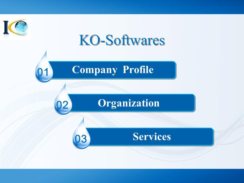 KO-Softwares 01 Organization 02 03 Company Profile Services
