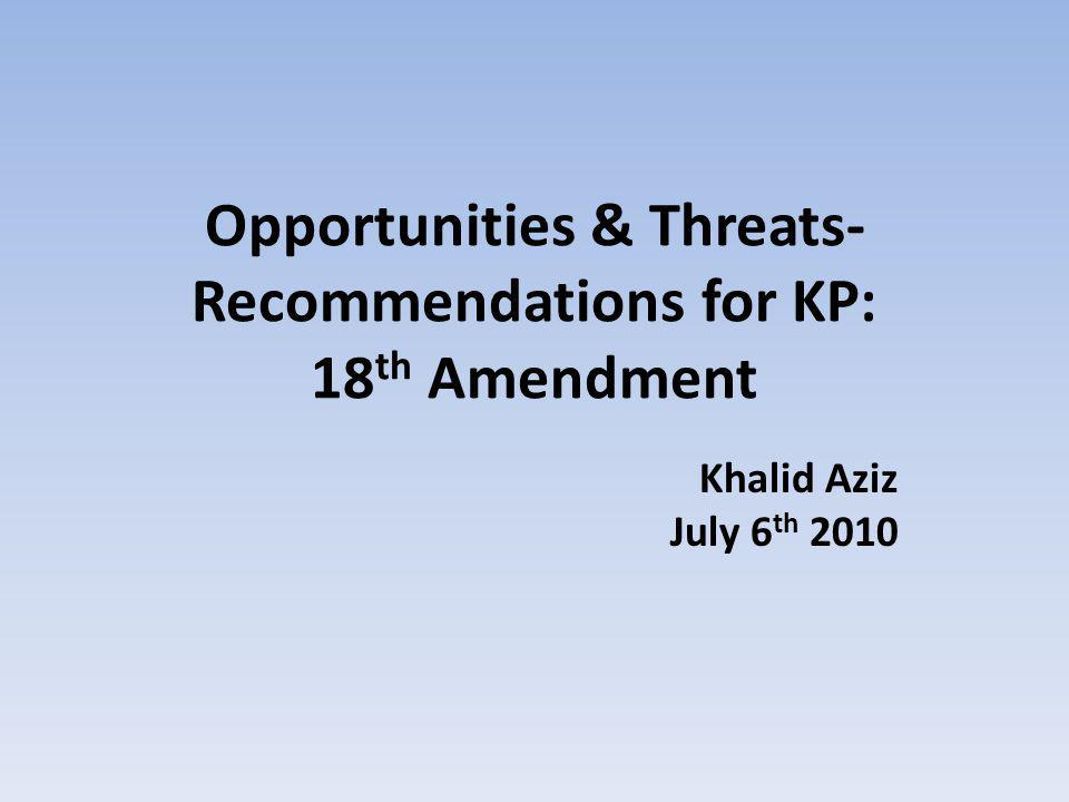 ISSUE - 11 Amend Sect Art of Const Implication for KP Suggestion 61167(3)(4)- Prov can raise domestic / international loans.