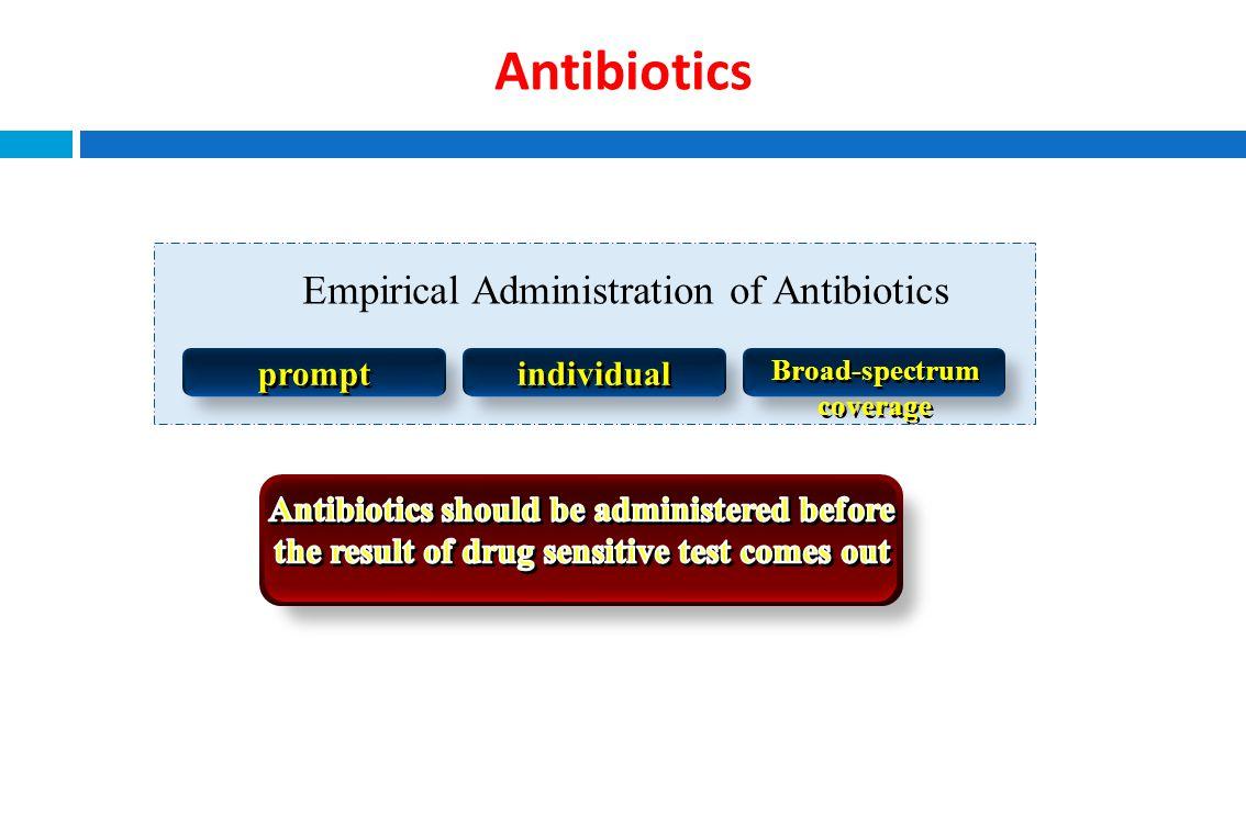 Antibiotics Empirical Administration of Antibiotics prompt individual Broad-spectrum coverage