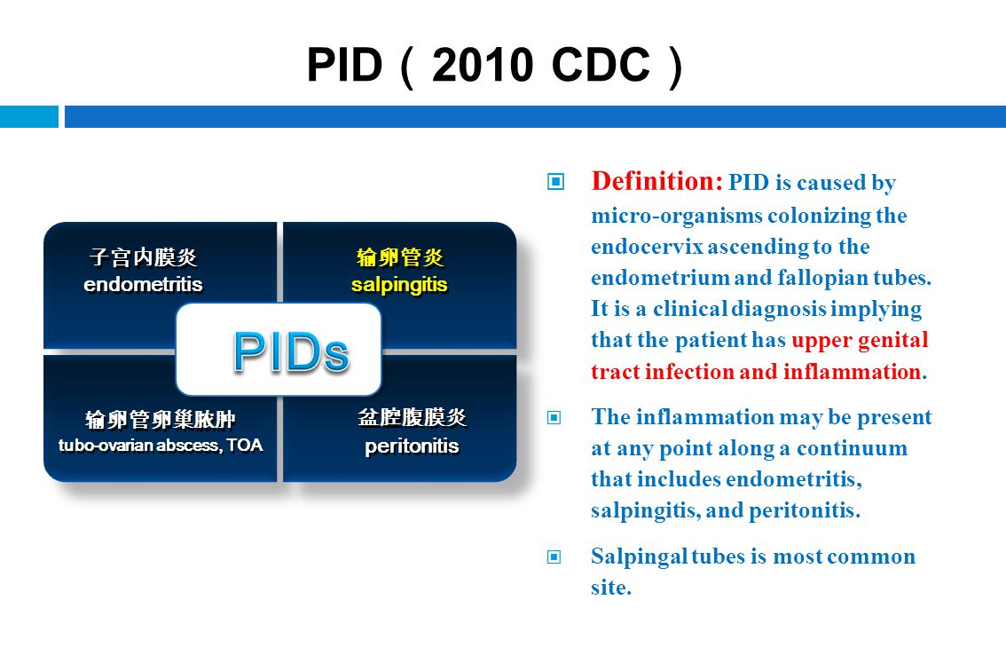 PID ( 2010 CDC ) Definition: PID is caused by micro-organisms colonizing the endocervix ascending to the endometrium and fallopian tubes. It is a clin