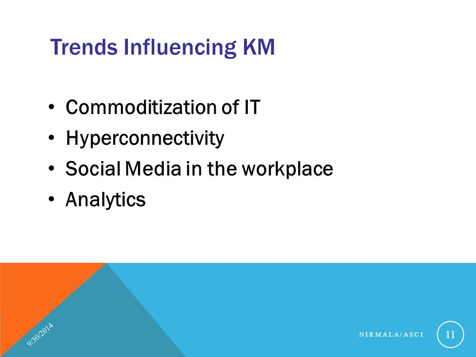 Trends Influencing KM Commoditization of IT Hyperconnectivity Social Media in the workplace Analytics 9/30/2014 NIRMALA/ASCI 11