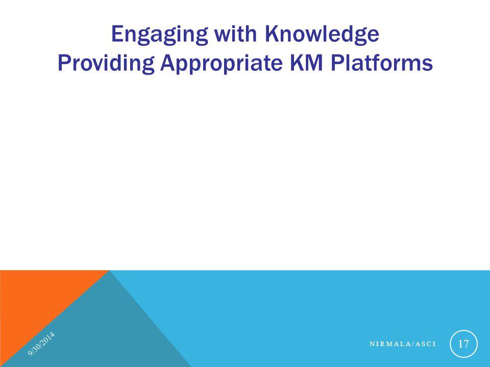 Engaging with Knowledge Providing Appropriate KM Platforms 9/30/2014 NIRMALA/ASCI 17