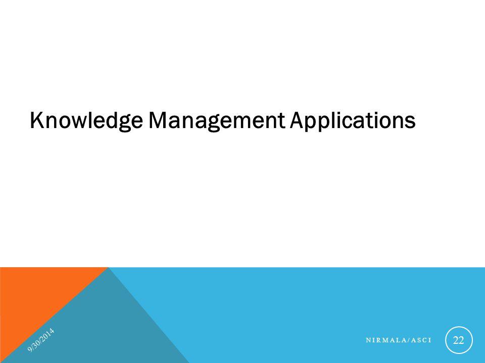 Knowledge Management Applications 9/30/2014 NIRMALA/ASCI 22