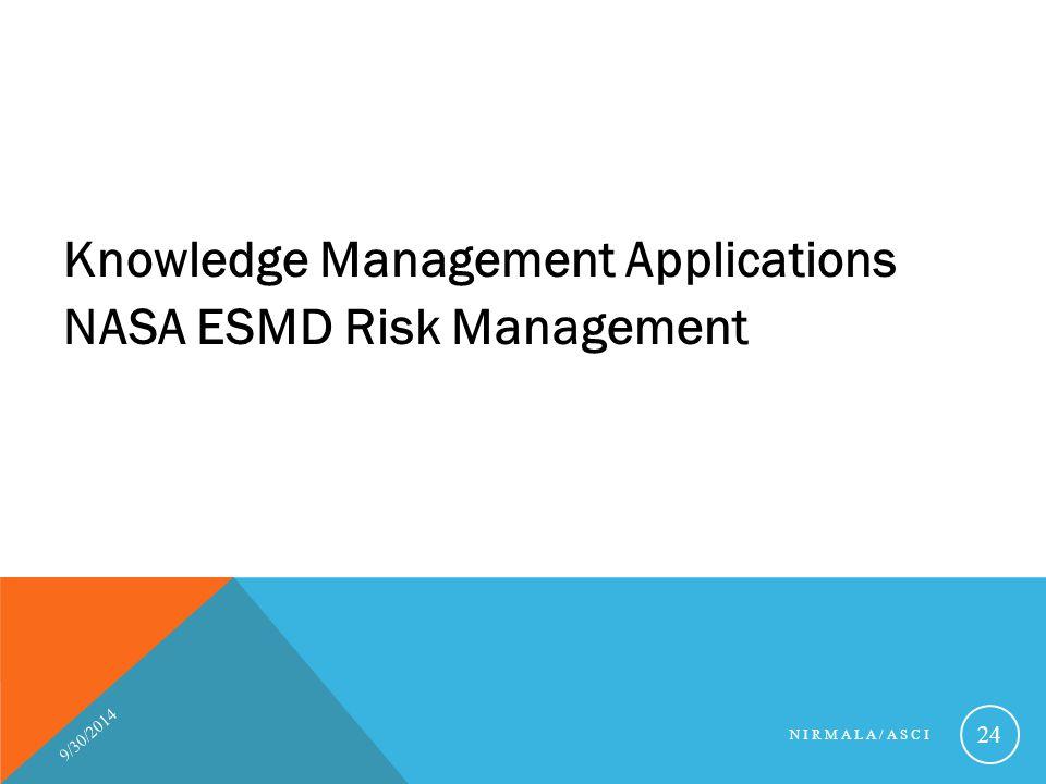 Knowledge Management Applications NASA ESMD Risk Management 9/30/2014 NIRMALA/ASCI 24