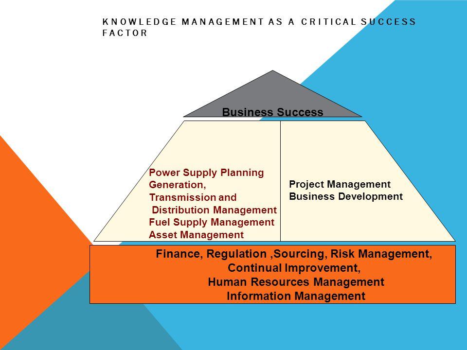 KNOWLEDGE MANAGEMENT AS A CRITICAL SUCCESS FACTOR Finance, Regulation,Sourcing, Risk Management, Continual Improvement, Human Resources Management Inf