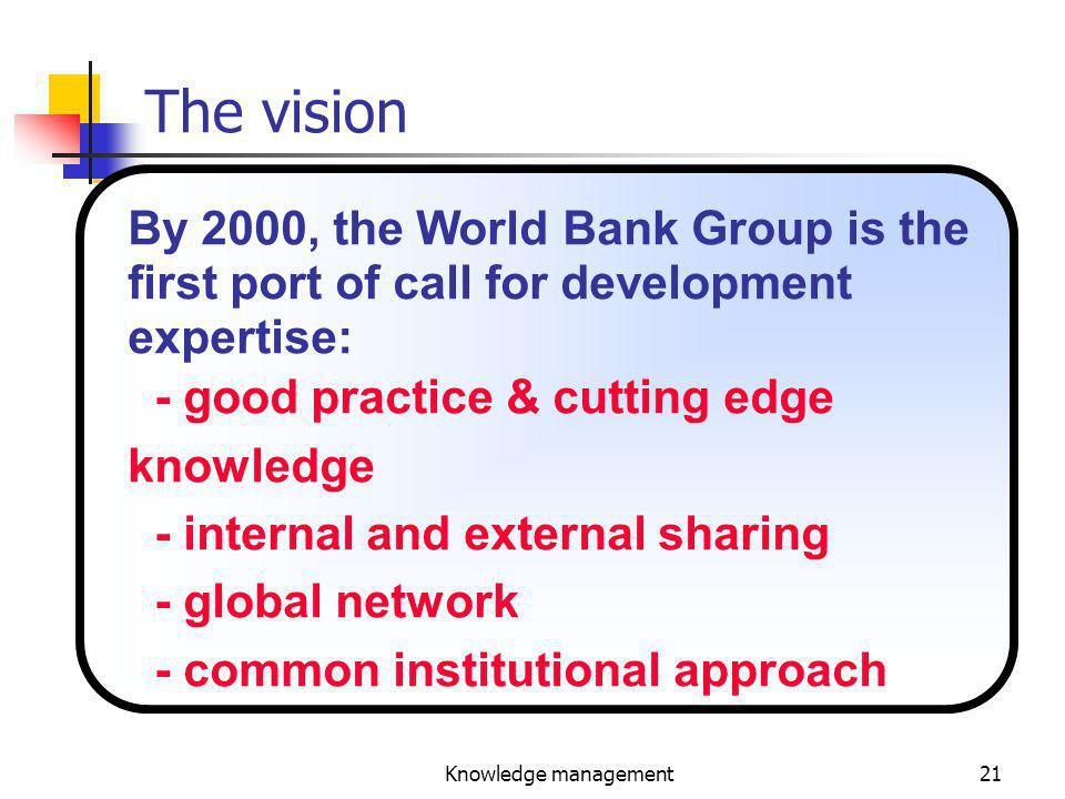 Knowledge management21 The vision By 2000, the World Bank Group is the first port of call for development expertise: - good practice & cutting edge knowledge - internal and external sharing - global network - common institutional approach