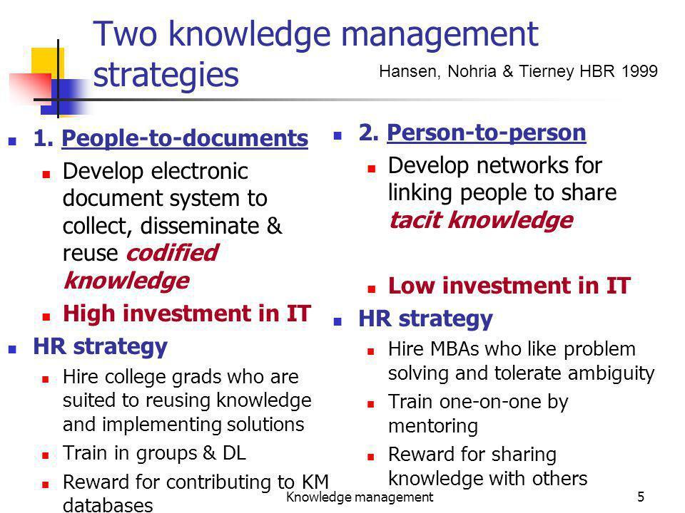 Knowledge management5 Two knowledge management strategies 1.