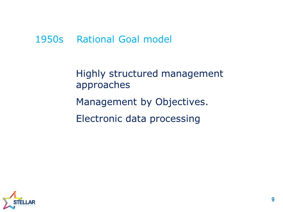 1950s Rational Goal model  Highly structured management approaches  Management by Objectives.