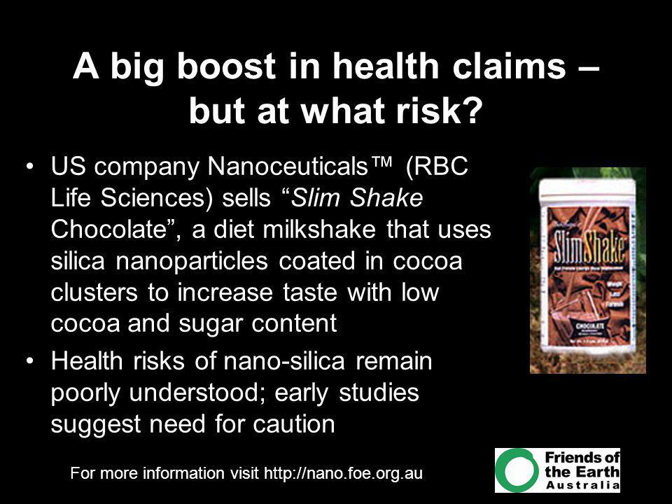 For more information visit http://nano.foe.org.au A big boost in health claims – but at what risk.
