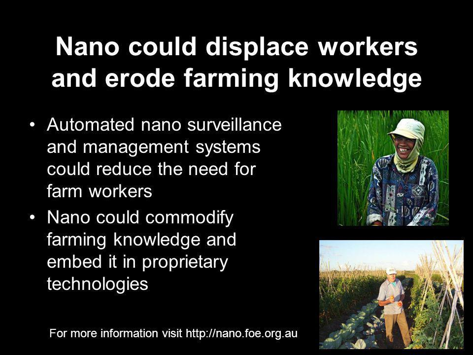 For more information visit http://nano.foe.org.au Nano could displace workers and erode farming knowledge Automated nano surveillance and management systems could reduce the need for farm workers Nano could commodify farming knowledge and embed it in proprietary technologies