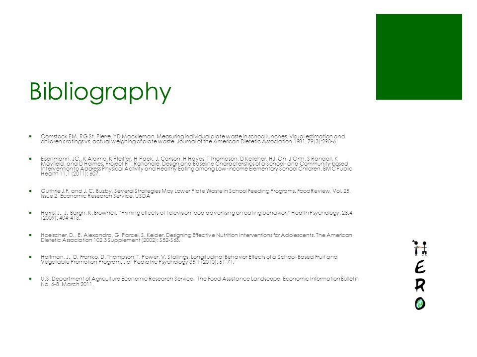 Bibliography  Comstock EM, RG St.Pierre, YD Mackiernan.