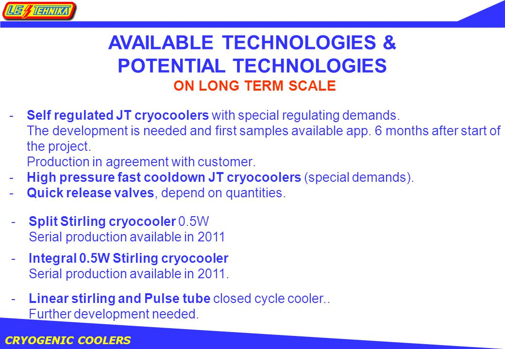 CRYOGENIC COOLERS -Self regulated JT cryocoolers with special regulating demands.