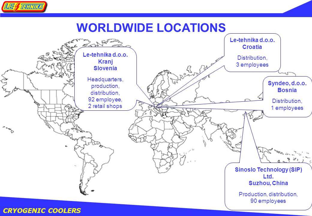 CRYOGENIC COOLERS WORLDWIDE LOCATIONS Le-tehnika d.o.o.