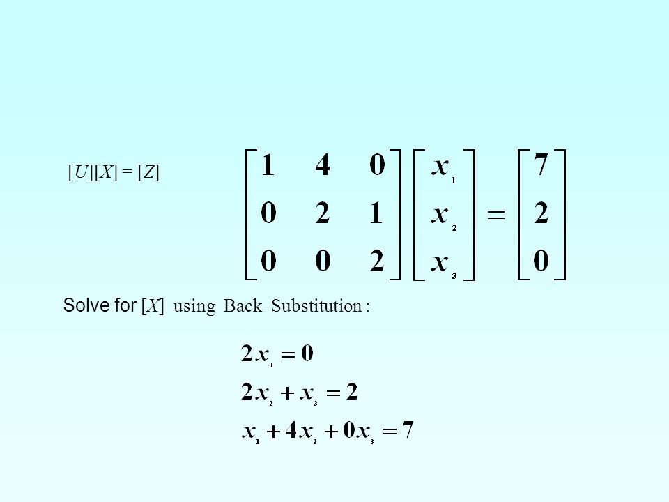 [U][X] = [Z] Solve for [X] using Back Substitution :