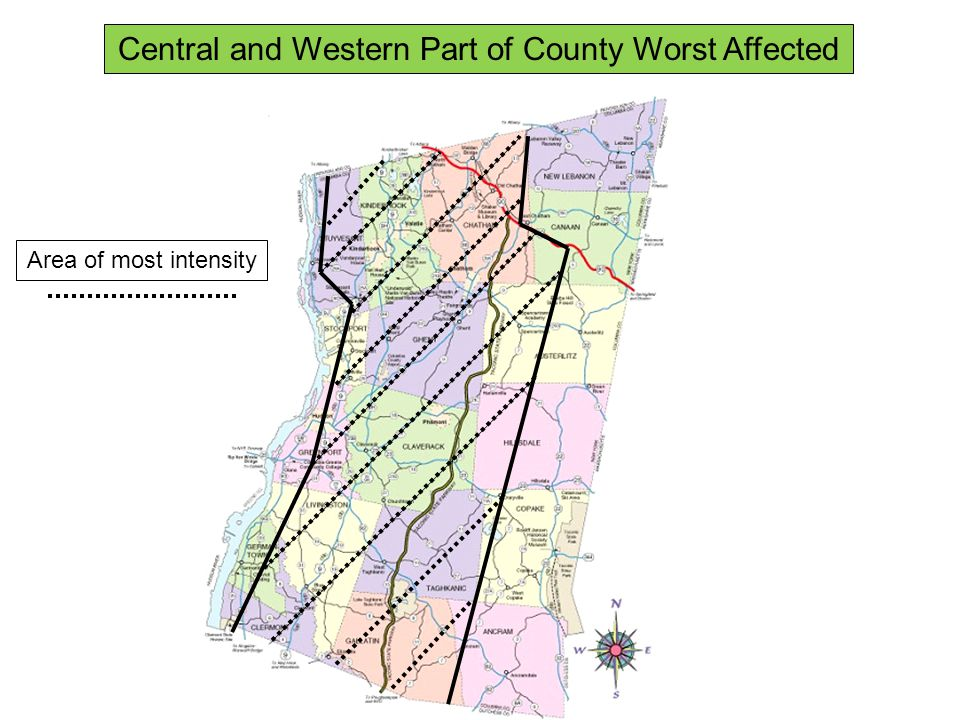 Area of most intensity Central and Western Part of County Worst Affected