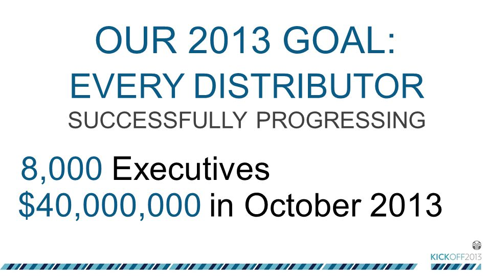OUR 2013 GOAL: 8,000 Executives $40,000,000 in October 2013 EVERY DISTRIBUTOR SUCCESSFULLY PROGRESSING