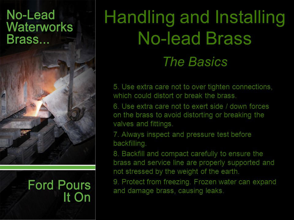 Handling and Installing No-lead Brass The Basics 5.