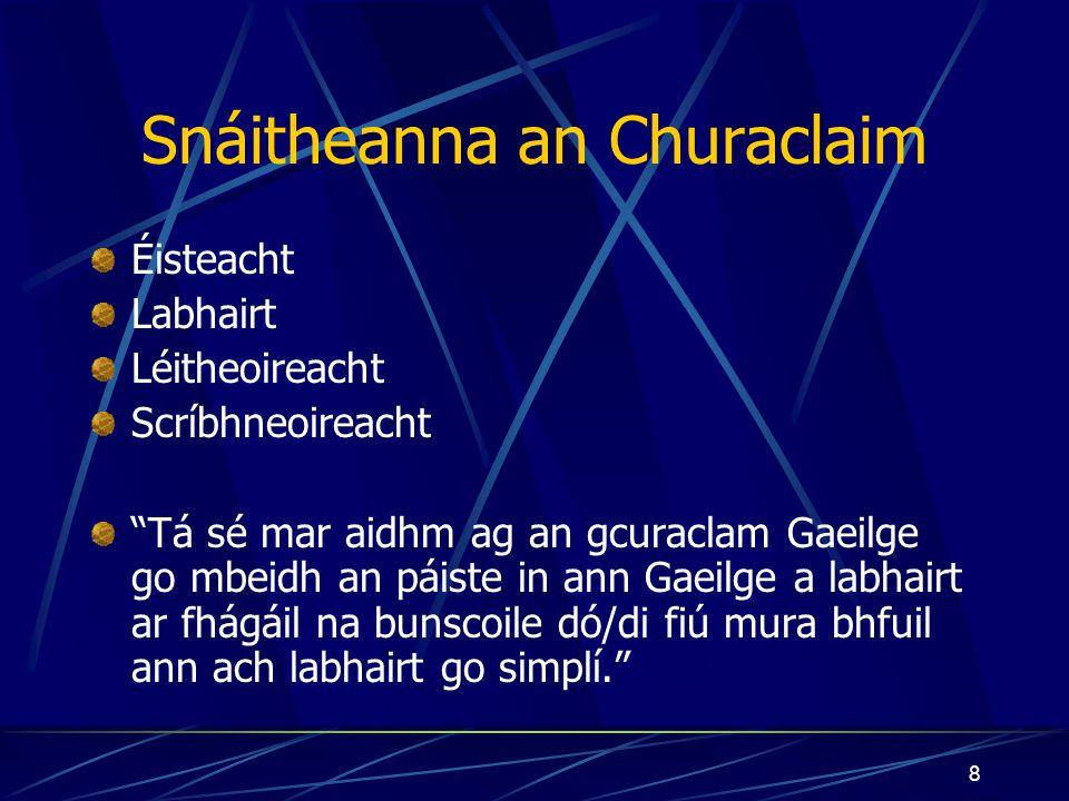 """7 Abairti Fánacha ón gCuraclam """"Is ar chumarsáid agus ar úsáid na teanga mar ghnáth-theanga bheo a leagtar béim sa churaclam Gaeilge."""" """"Cuirfidh foghl"""