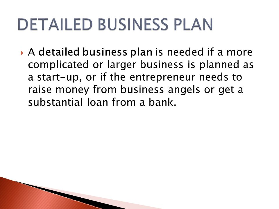  A detailed business plan is needed if a more complicated or larger business is planned as a start-up, or if the entrepreneur needs to raise money from business angels or get a substantial loan from a bank.