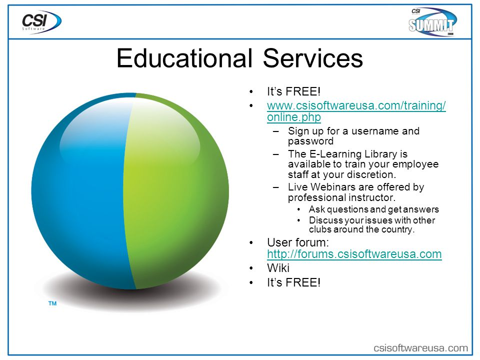 Educational Services It's FREE.