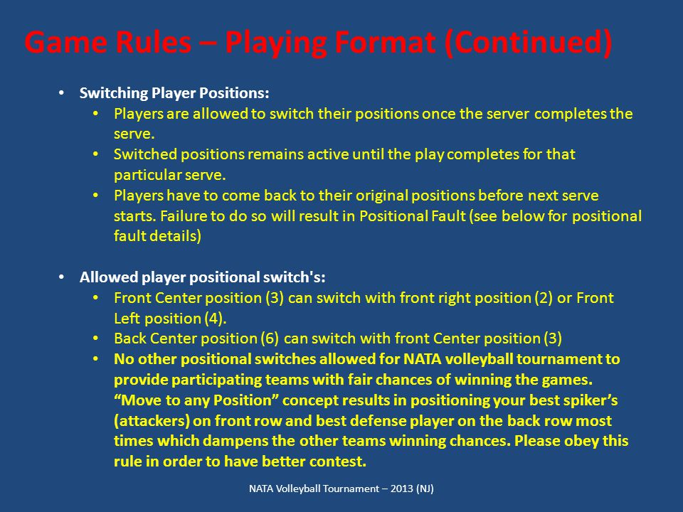 NATA Volleyball Tournament – 2013 (NJ) Game Rules – Playing Format (Continued) Switching Player Positions: Players are allowed to switch their positio