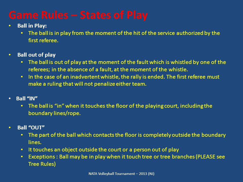 NATA Volleyball Tournament – 2013 (NJ) Game Rules – States of Play Ball in Play: The ball is in play from the moment of the hit of the service authorized by the first referee.