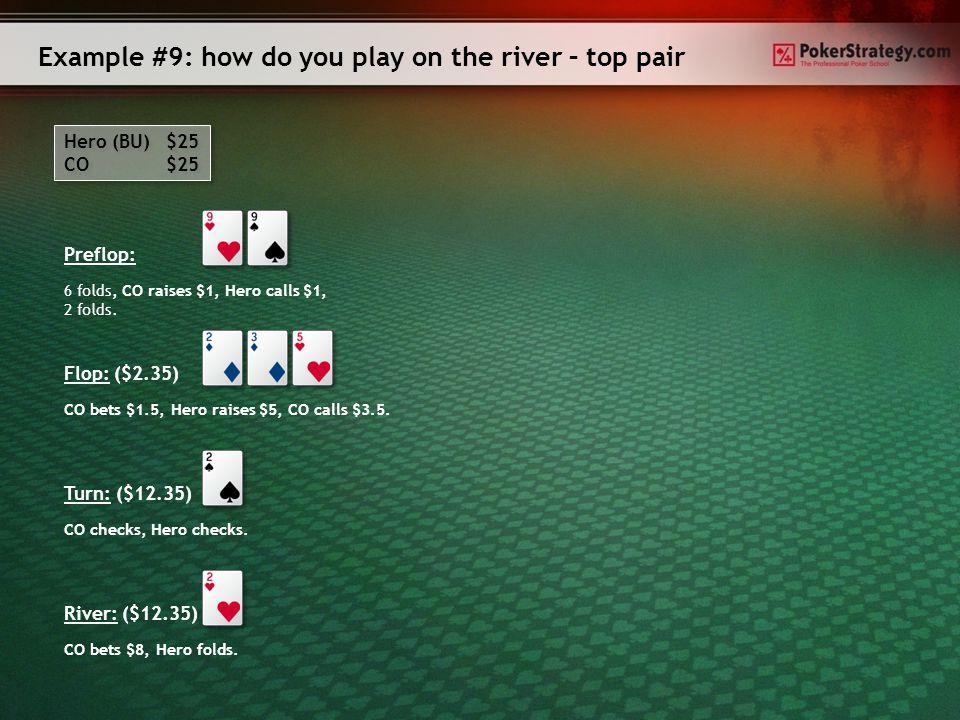 Example #8: how do you play on the river – three of a kind Hero (SB) $25 BU $25 Hero (SB) $25 BU $25 Preflop: Flop: ($2.25) Hero checks, BU bets $1.4, Hero raises $5, BU calls $3.6.