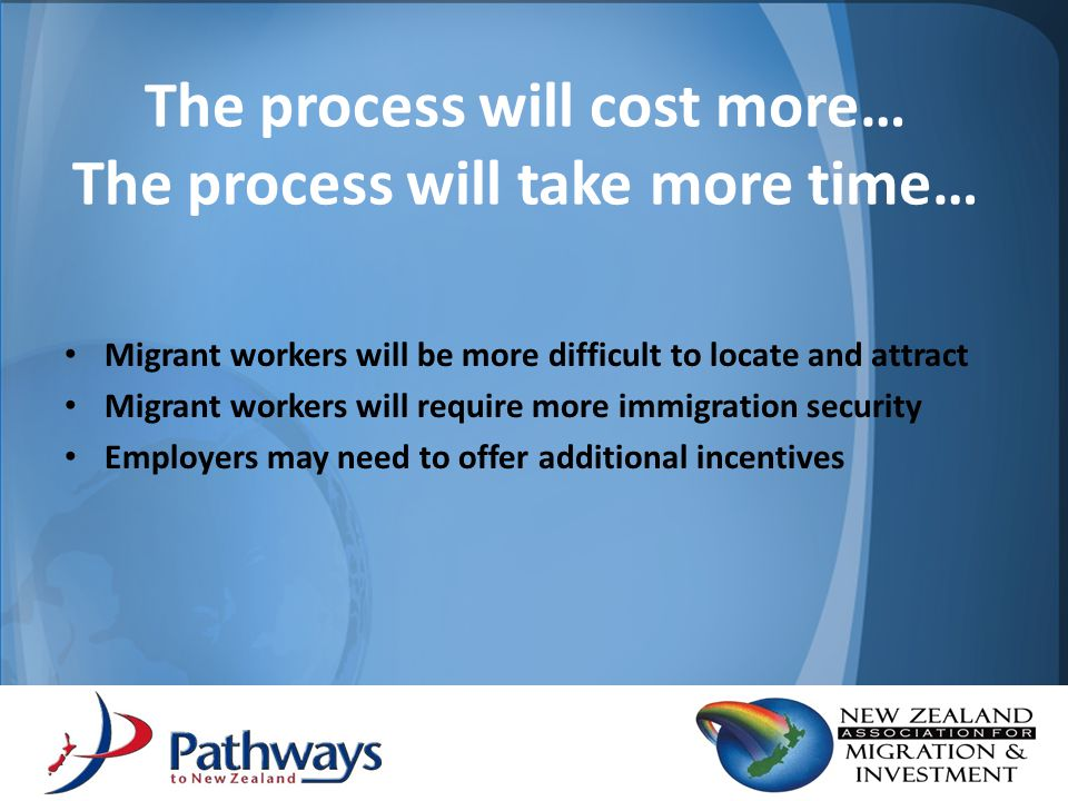Need to protect investment made by both employers and migrant families Skills will be required in the future More time and cost to attract skills back Skills will help economic recovery of New Zealand Costs of social and community integration.
