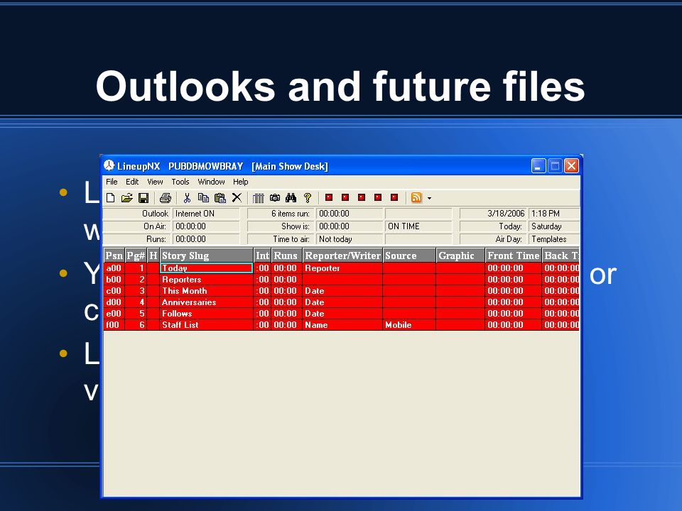 Outlooks and future files LineupNX supports a full newsroom workflow from future file to air You can use our Future File template or create your own LineupNX can prepare outlooks with varying degrees of detail