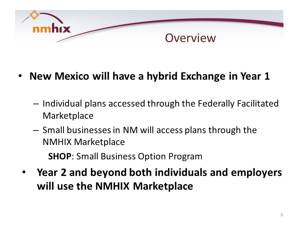 Overview New Mexico will have a hybrid Exchange in Year 1 – Individual plans accessed through the Federally Facilitated Marketplace – Small businesses in NM will access plans through the NMHIX Marketplace SHOP: Small Business Option Program Year 2 and beyond both individuals and employers will use the NMHIX Marketplace 6