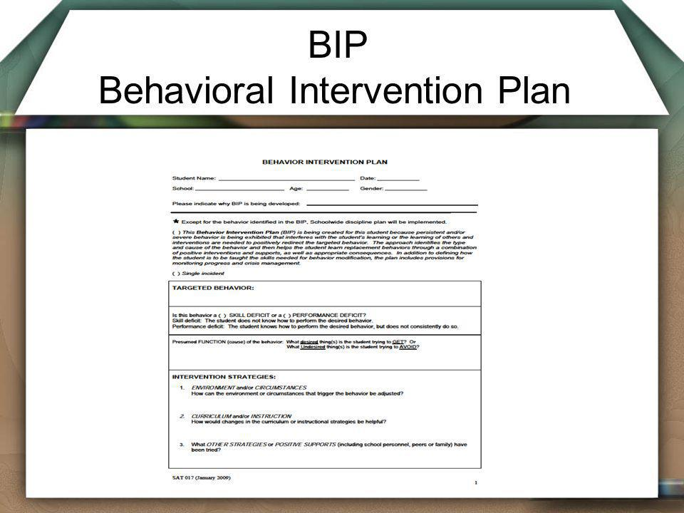 BIP Behavioral Intervention Plan