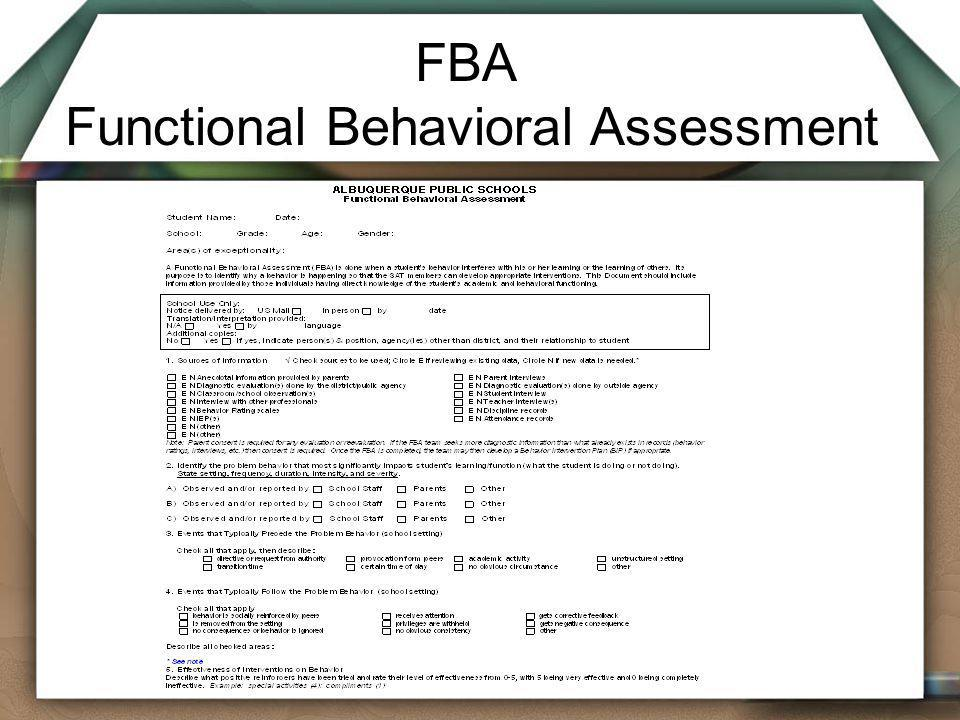 FBA Functional Behavioral Assessment